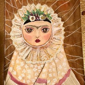 """Original painting  Frida  Kahlo""""Tehuana"""" 5""""x7"""""""